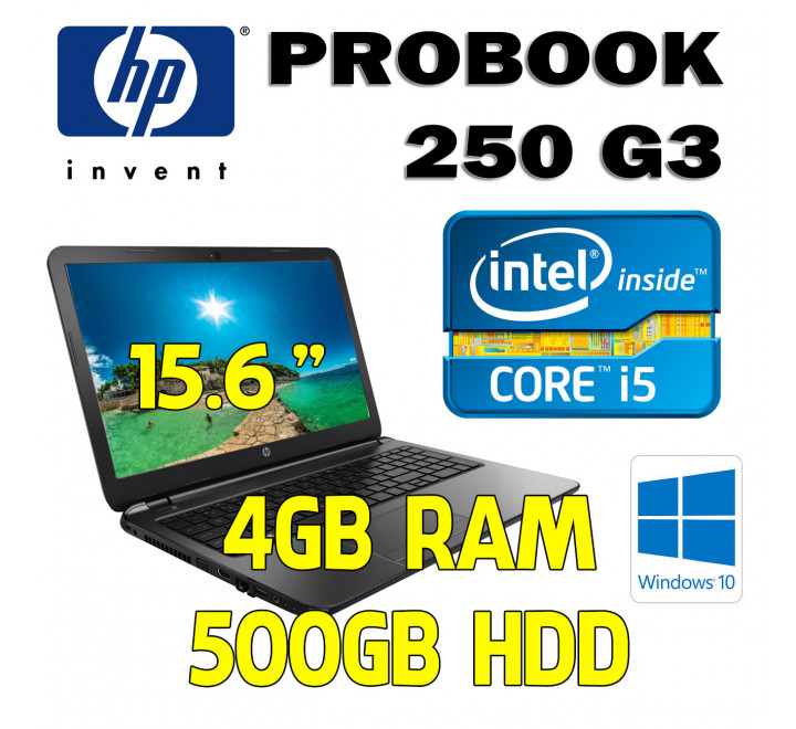 Notebook HP 250 G3 Intel Core i5-4210U con 4GB Ram, 500GB Hard Disk, Masterizzatore e Windows 10