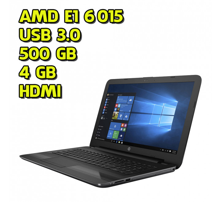 Notebook Nuovo HP 255 G4 AMD E1-6015 @ 1.40GHz, 4GB di Ram, 500GB HDD, Windows 10 Professional