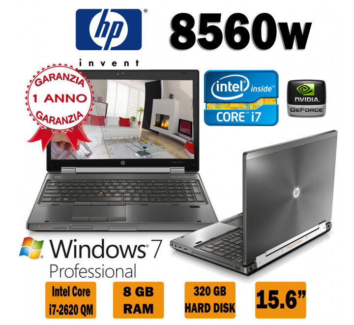 Workstation HP 8560W Intel Core i7-2620QM @ 2,40 Ghz con 8 GB di Ram, 320 GB di Hard Disk, Nvidia Quadro 1000, Masterizzatore e Windows 7 Professional
