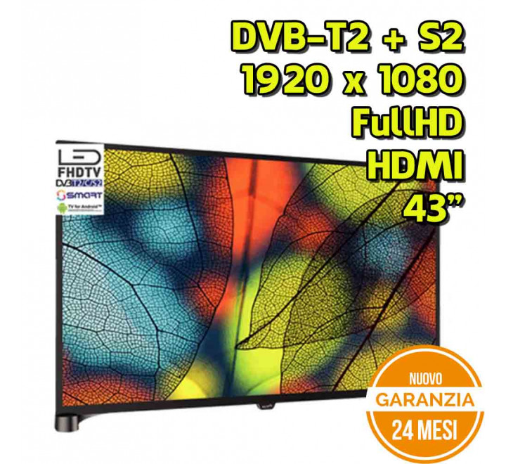 "Smart TV Android All Star 43"" FullHD  1920x1080 DVB-T2 S2 HDMI USB - Nuovo"