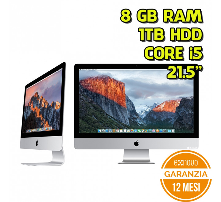 "All in One Apple iMac 21,5"" Intel Core i5-4570R 2,70GHz 8GB Ram 1TB HDD - Grado A"