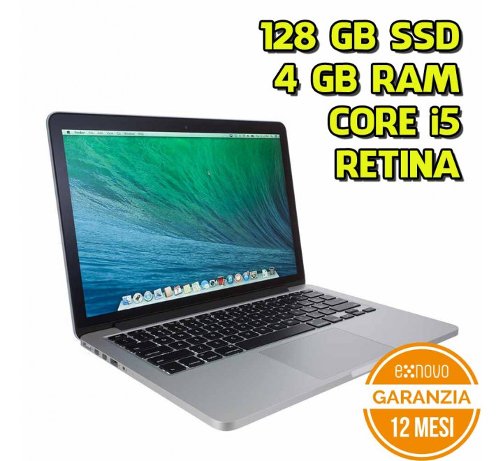 "Notebook Apple MacBook Pro 13"" Retina Intel Core i5-4258U 2,40GHz 4GB Ram 128GB SSD Mojave - Late 2013 - Grado A"