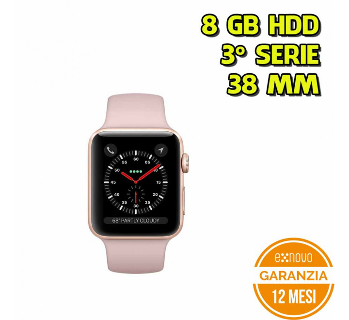 Apple Watch 3°Serie 38MM Pink Sand 8GB - Cinturino Rosa - Grado A