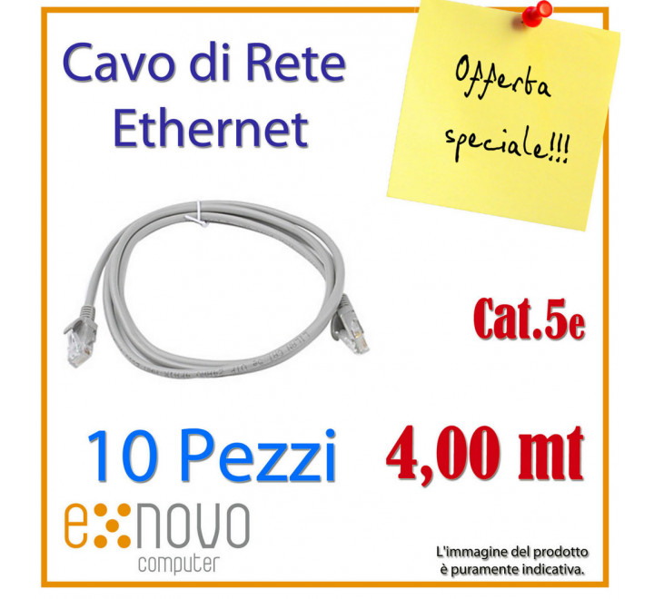 10 CAVI DI RETE Patch Cord RJ45 4,0mt CAT. 5e Patch per Modem, Switch, Internet