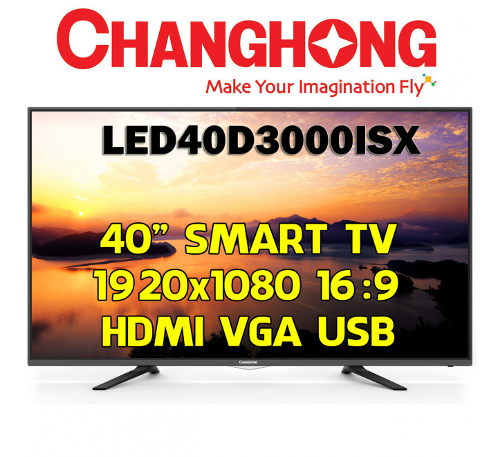 "Smart TV Nuova Changhong LED40D3000ISX 40"" 1920x1080 16:9 LED HDMI USB VGA Audio"