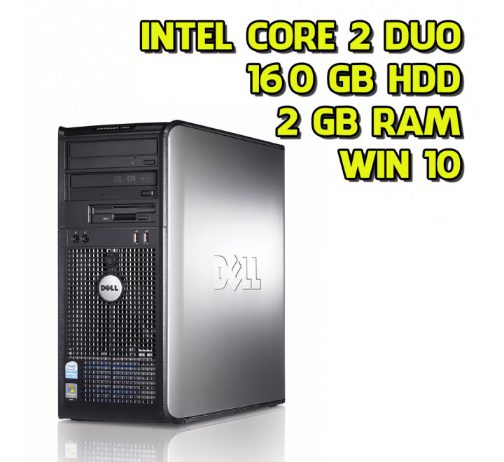 Desktop usato Dell 755 Tower Intel Core 2 Duo E6550 2.30GHz 2GB Ram 160GB HDD Win 10 Pro