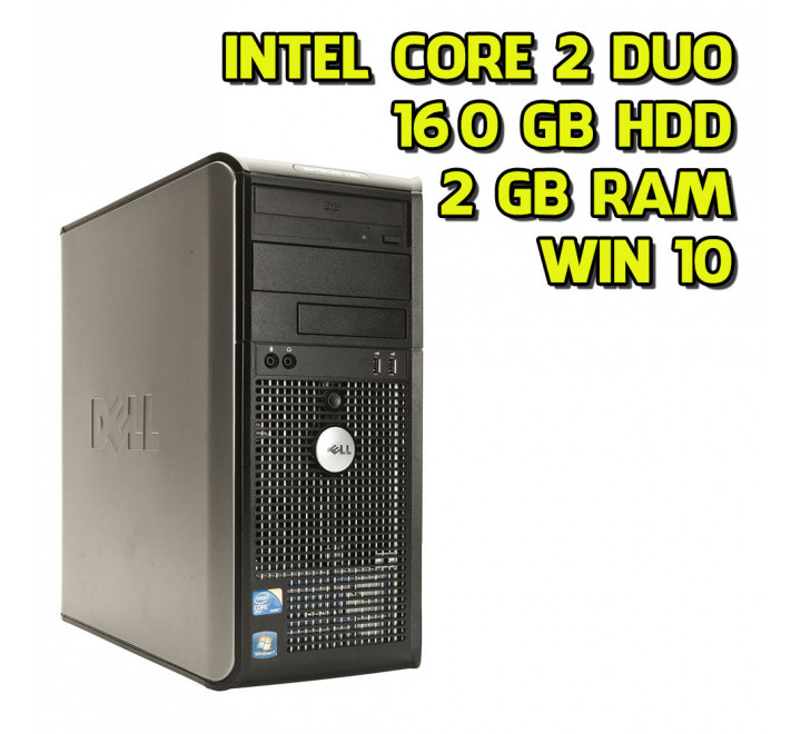 Desktop usato Dell 780 Tower Intel Core 2 Duo E7500 2.93 GHz 2 GB Ram 160GB HDD Win 10 Pro