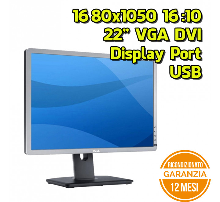 "Monitor Dell P2213t 22"" 1680x1050 VGA DVI Display Port USB 16:10 VESA - Grado A"