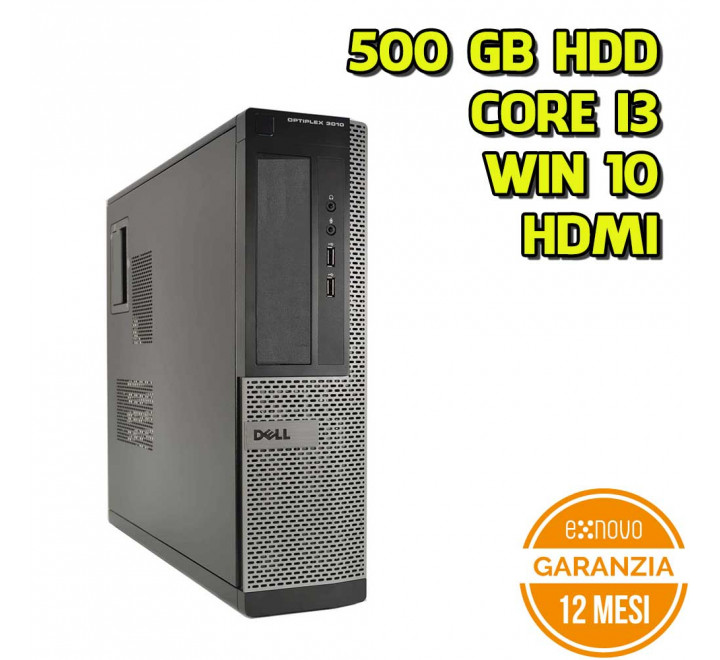Desktop Dell 3010 DT Intel Core i3-2120 3.30GHz 4GB Ram 500GB HDD Win 10 Pro - Grado A