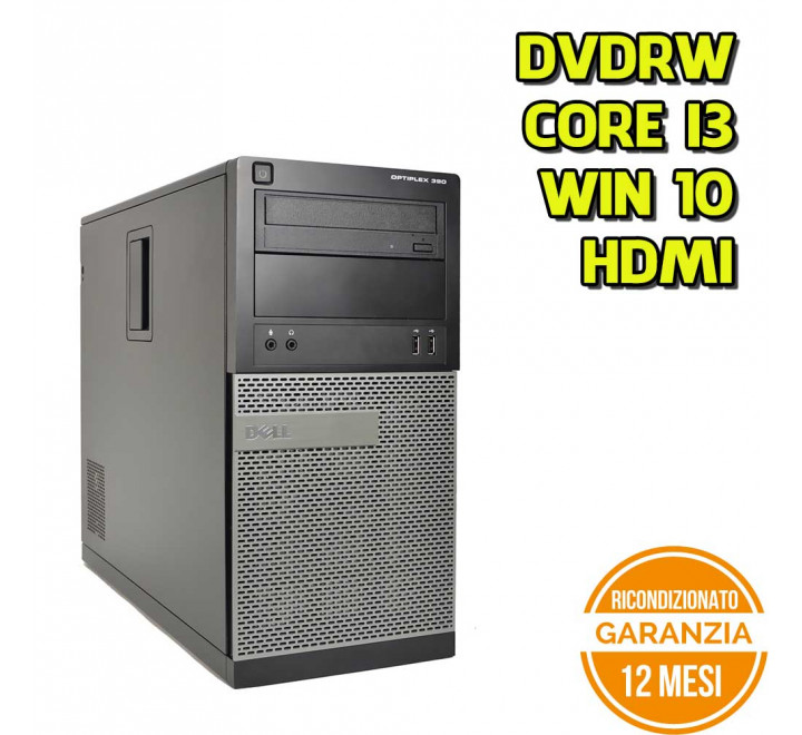 Desktop Dell 390 MT Intel Core I3-2120 3,30 GHz 4GB Ram 250GB HDD DVDRW Win 10 Pro - Grado B