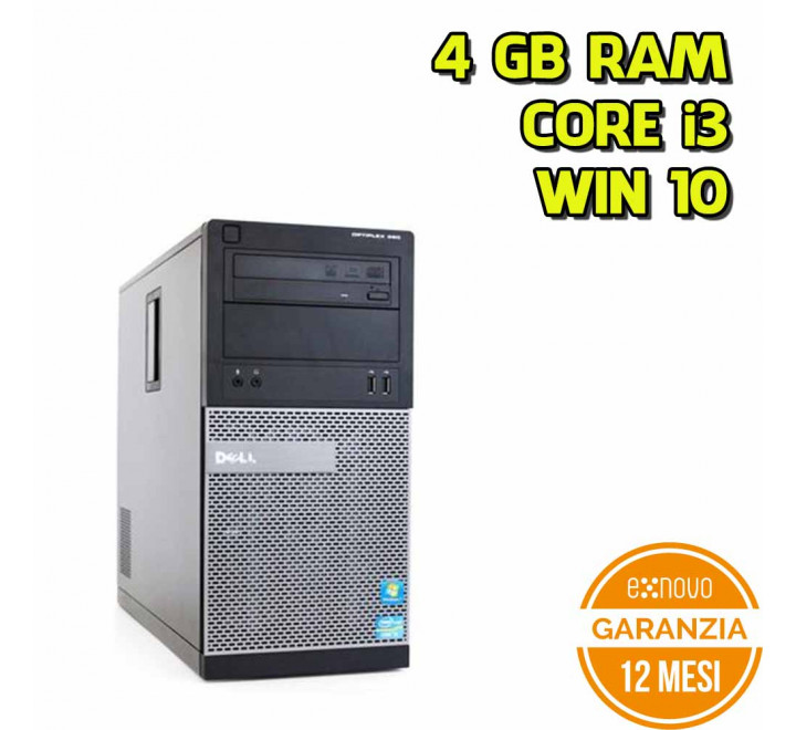 Desktop Dell 390 Mid-Tower Intel Core i3-2120 3,30GHz 4GB Ram 250GB HDD DVD  Win 10 Pro - Grado A