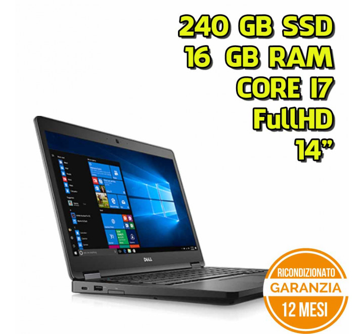 "Notebook Dell 5480 14"" FullHD Intel Core i7-7600U 2,80GHz 16GB Ram 240GB SSD Win 10 Pro - Grado A"