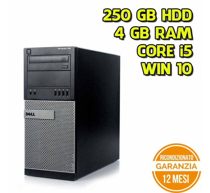 Desktop Dell 790 MT Intel Core i5-2400 3,10GHz 4GB Ram 250GB HDD DVD Win 10 Pro