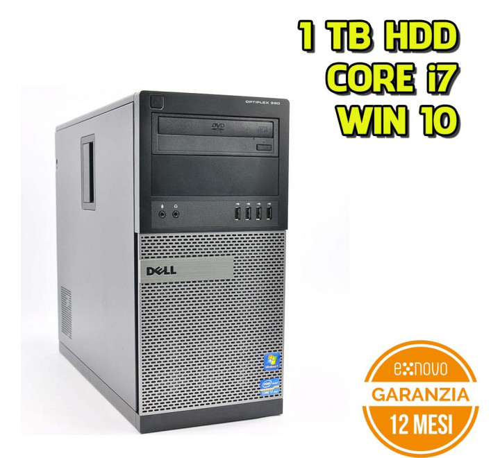 Desktop Dell 990 Tower Intel Core i7-2600 3,40GHz 4GB Ram 1TB HDD DVDRW Win 10 Pro