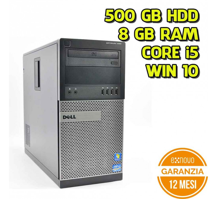 Desktop Dell 990 Tower Intel Core i5-2500 3,30GHz 8GB Ram 500GB HDD DVDRW Win 10 Pro