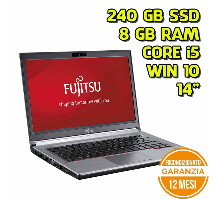 "Notebook Fujitsu E744 14"" Intel Core i5-4200M 2,50GHz 4GB Ram 240GB SSD Win 10 Pro - Grado B - Webcam"