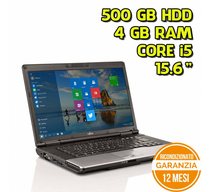 "Notebook Fujitsu E752 15,6"" Intel Core i5-3320M 2,60GHz 4GB Ram 500GB HDD DVDRW Win 10 Pro - Grado B"