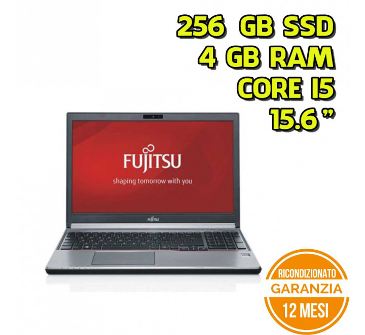 "Notebook Fujitsu E754 15,6"" Intel Core i5-4210M 2,60GHz 4GB Ram 256GB SSD Win 10 Pro - Grado B"