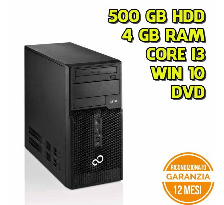 Desktop Fujitsu P400 MT Intel Core i3-2120 3,30GHz 4GB Ram 500GB HDD DVD Win 10 Pro - Grado B