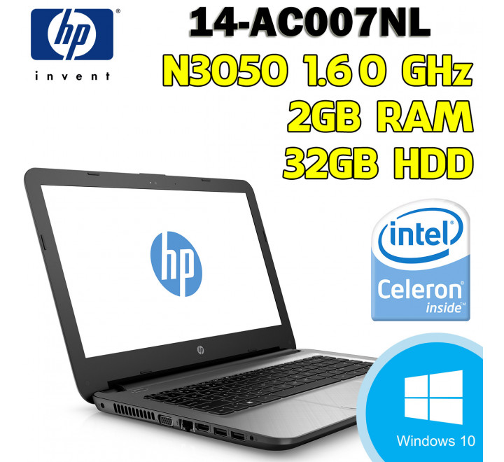 Notebook Nuovo HP 14-ac007nl Intel Celeron N3050 @ 1.60 GHz, 2GB Ram, 32 GB HDD, Windows 10