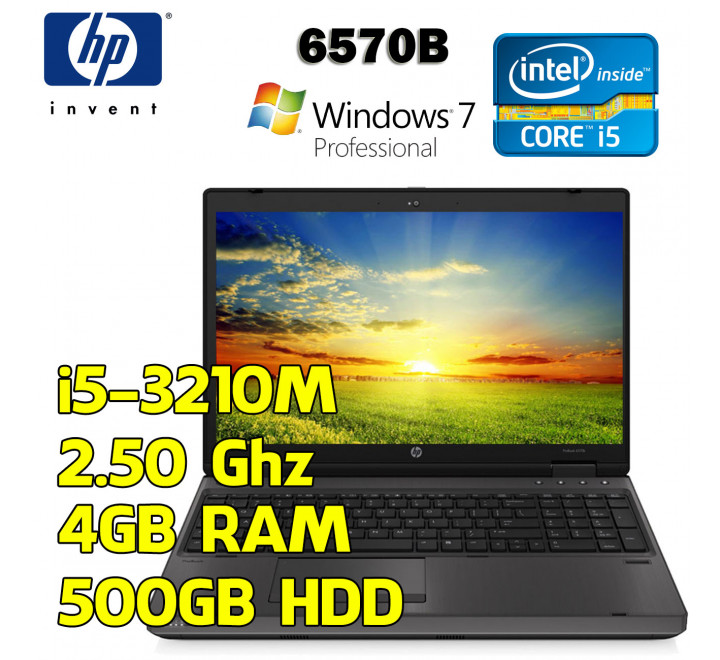 Notebook HP 6570B Intel Core i5-3210M @ 2,50 Ghz, 4GB Ram, 500GB di HDD, Windows 7 Professional