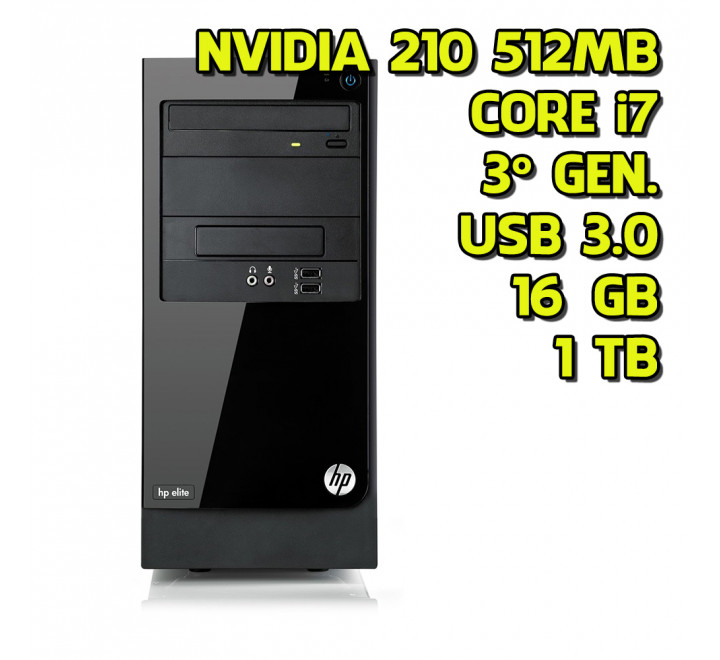 Desktop usato HP Elite 7500 MidTower Intel Core i7 3770 3.40GHz 16GB Ram 1TB HDD Nvidia 210 512MB Win 10 Pro