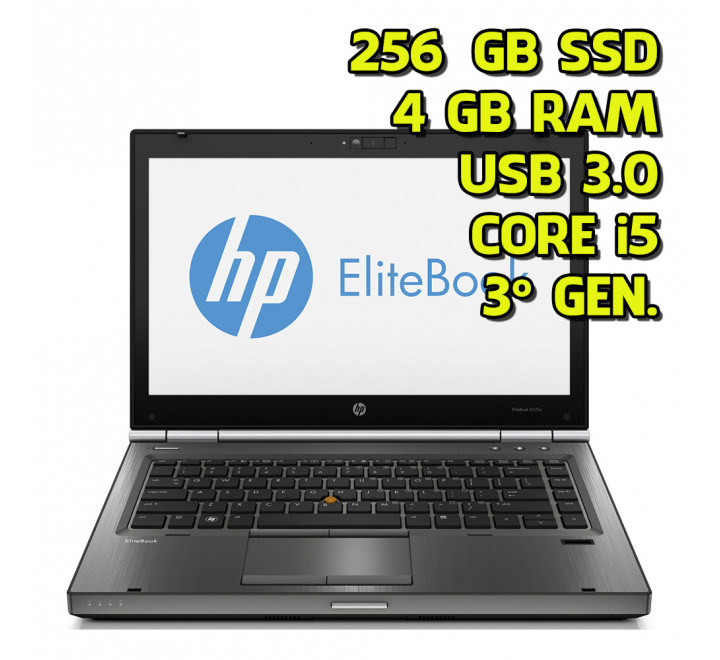 Notebook usato HP 9470m Intel Core i5-3427U 1.80GHz 4GB Ram 256GB SSD Win 10 Pro