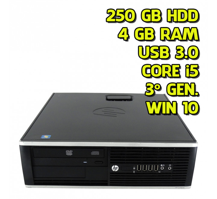 Desktop usato HP Elite 8300 Intel Core i5-3470 3.20GHz 4 GB Ram 250GB HDD Win 10 Pro