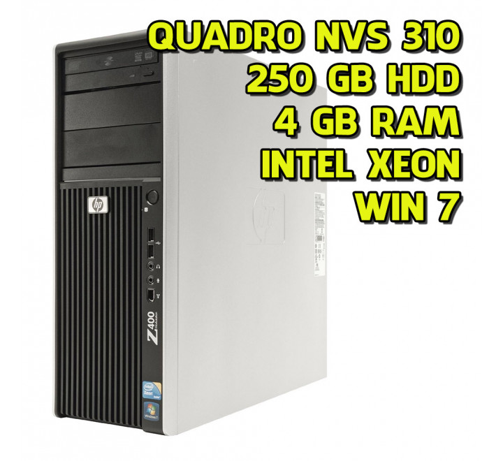 Workstation usata HP Z400 Intel Xeon W3503 2.40 GHz 4GB Ram 250GB HDD Nvidia Quadro NVS310 Win 7 Pro
