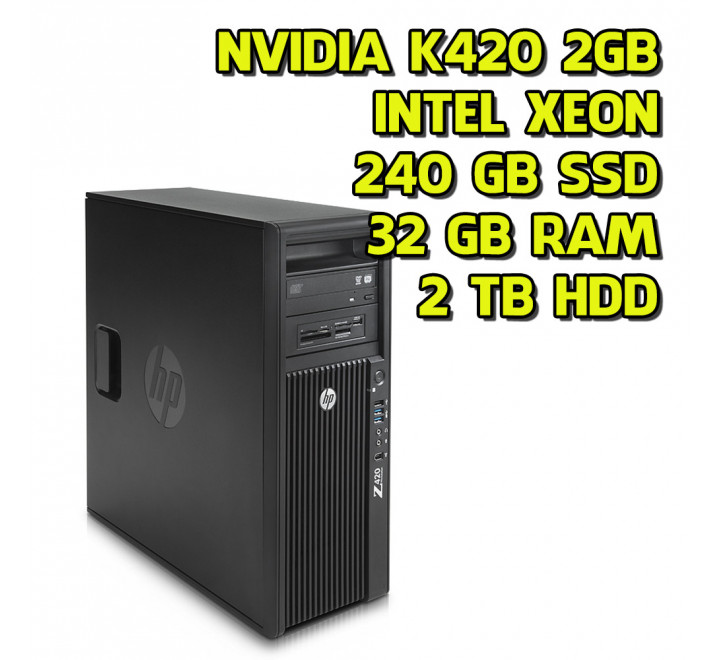 Workstation HP Z420 Intel Xeon E5-1660 3,70GHz 64GB Ram 240GB SSD 2TB HDD Nvidia Quadro K420 Win 10 Pro