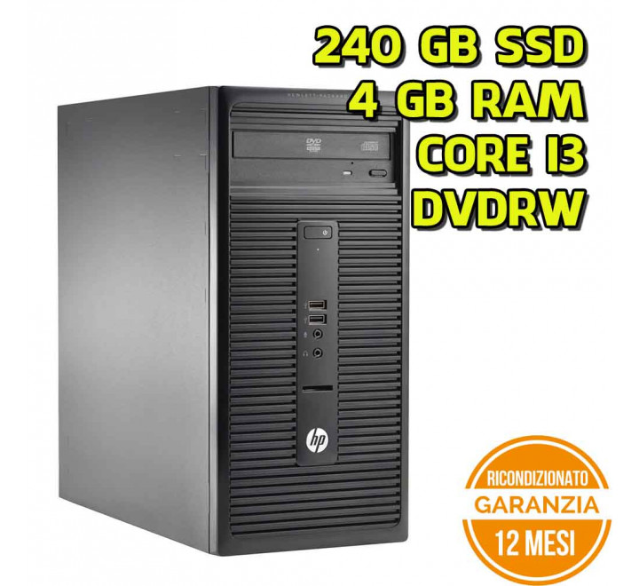Desktop HP 280 G1 MT Intel Core i3-4160 3,60GHz 4GB Ram 240GB SSD DVDRW Win 10 Pro