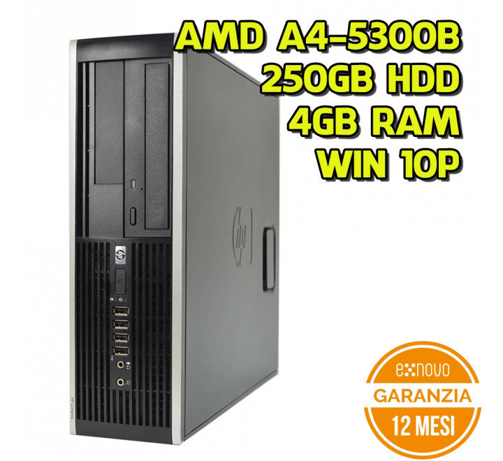 Desktop HP 6005 SFF AMD AMD A4-5300B 3.40GHz 4GB Ram 250 GB HDD DVDRW Win 10 Pro