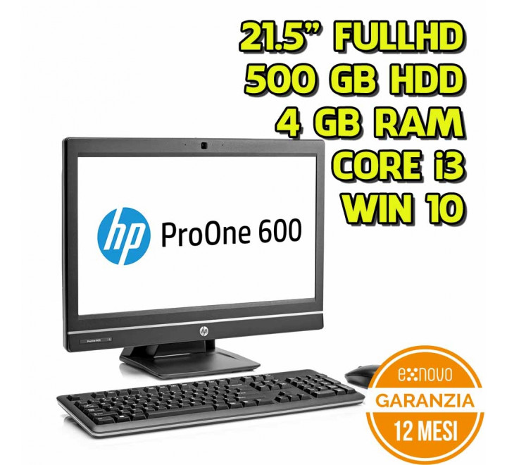 "All in One HP 600 G1 21,5"" FullHD Intel Core i3-4130S 3,40GHz 4GB Ram 500GB HDD Win 10 Pro"