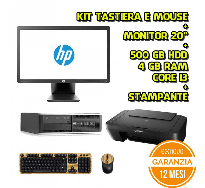 "Desktop HP i3-3220 4GB Ram 500GB HDD Win 10 Grado A + Monitor HP 20"" - Grado B + Stampante a Colori"