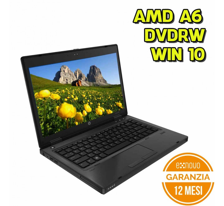 "Notebook HP 6475b 14"" AMD A6-4400M 2.70GHz 4GB Ram 320GB HDD DVDRW Win 10 Pro - Grado A"