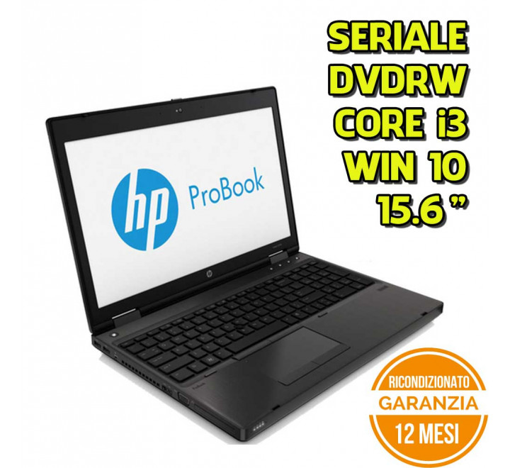"Notebook HP 6570b 15,6"" Intel Core i3-2370M 2.40GHz 4GB Ram 320GB HDD DVDRW Win 10 Pro - Grado B"