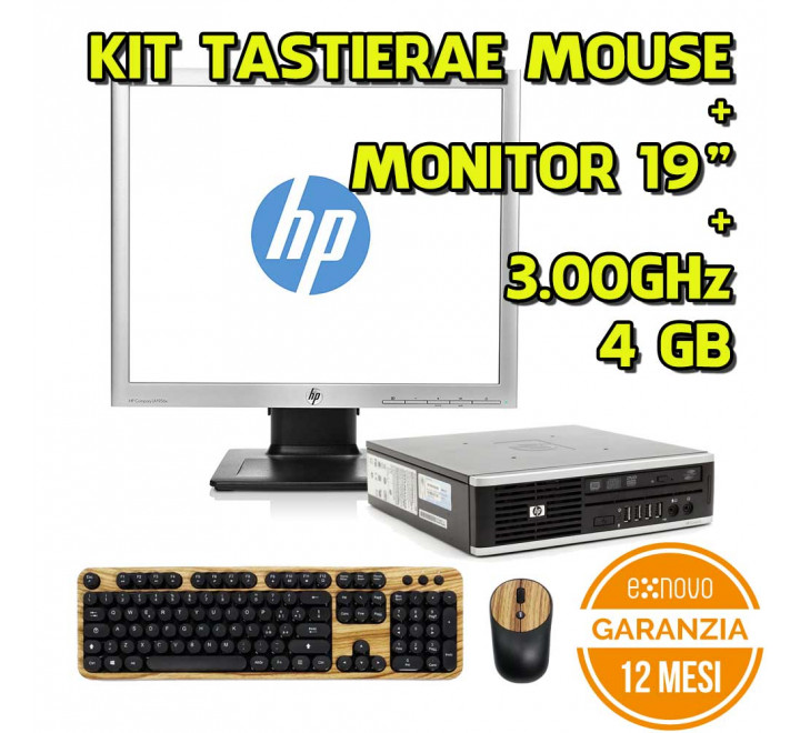 "Desktop HP E8400 4GB Ram 250GB HDD Win 10 + Monitor HP 19"" VGA DVI Display Port - Grado A"