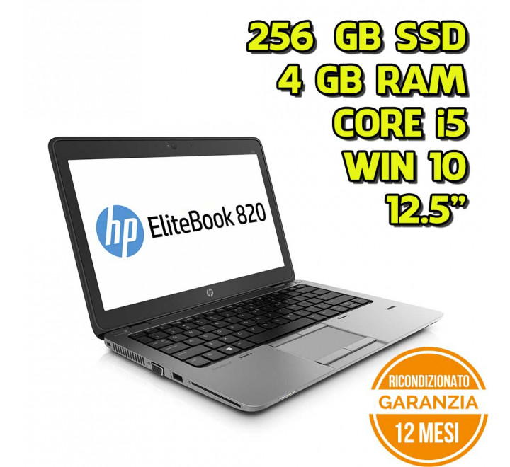 "Notebook HP 820 G2 12,5"" Intel Core i5-5300U 2,30GHz 4GB Ram 256GB SSD Win 10 Pro - Grado A"