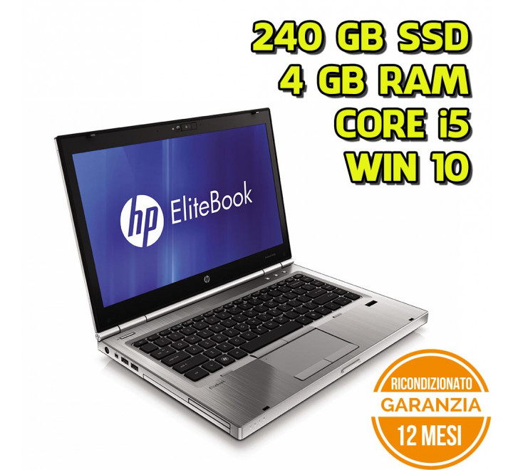 "Notebook HP 8460p 14"" Intel Core i5-2520M 2,50GHz 4GB Ram 240GB SSD DVDRW Win 10 Pro - Grado A"