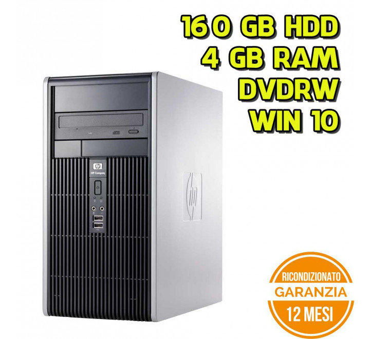 Desktop HP DC5800 Tower Intel Core 2 Duo E8400 3.00GHz 4GB Ram 160GB HDD DVDRW Win 10 Pro - Grado A