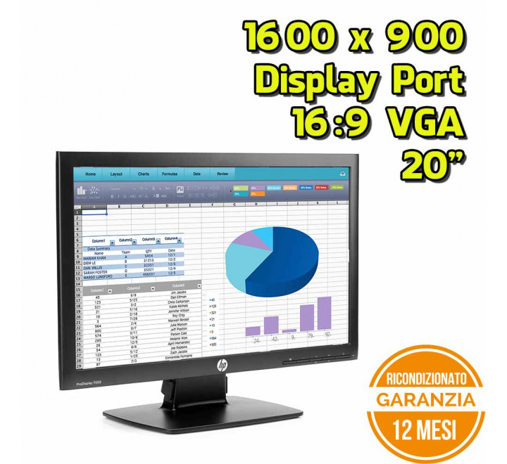 "Monitor HP P202 20"" 1600x900 VGA Display Port 16:9 - Grado A"