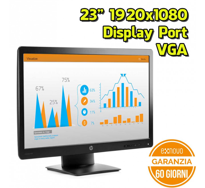 "Monitor HP P232 23"" 1920x1080 VGA Display Port 16:9 VESA - Grado B"