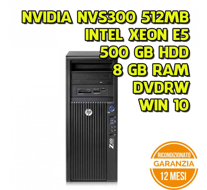Worksation HP Z420 Tower Intel Xeon E5-1620 3,60GHz 8GB Ram 500GB HDD Nvidia NVS300 DVDRW Win 10 Pro