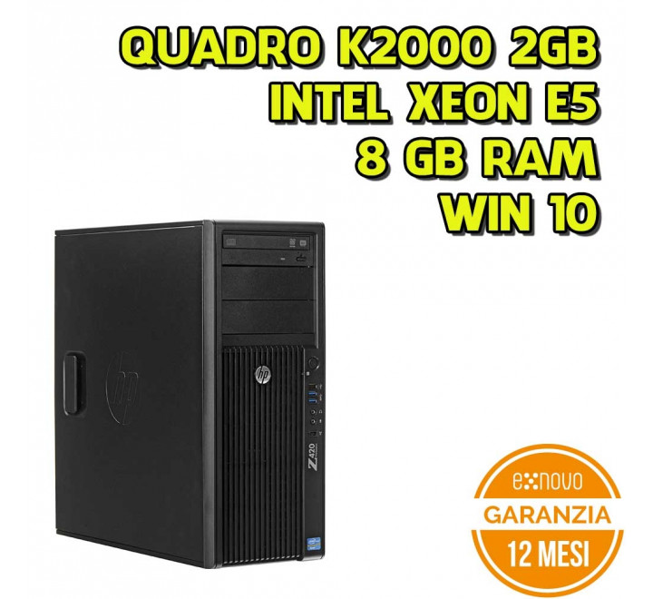 Workstation HP Z420 Tower Intel Xeon E5-1620 3,60GHz 8GB Ram 500GB HDD Nvidia K2000 DVDRW Win 10 Pro