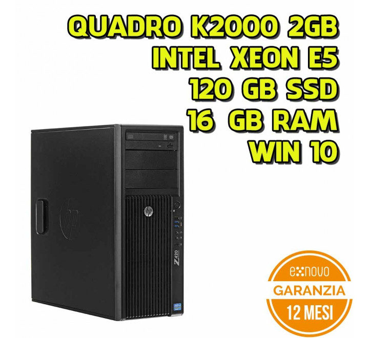 Workstation HP Z420 Tower Intel Xeon E5-1650 3,20GHz 16GB Ram 128GB SSD DVD Nvidia Quadro K2000 Win 10 Pro