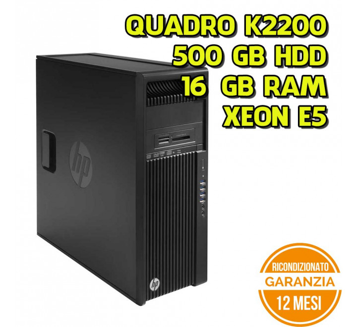 Workstation HP Z440 Tower Intel Xeon E5-1620v3 3,50GHz 16GB Ram 500GB HDD Nvidia K2200 DVDRW Win 10 Pro - Grado B