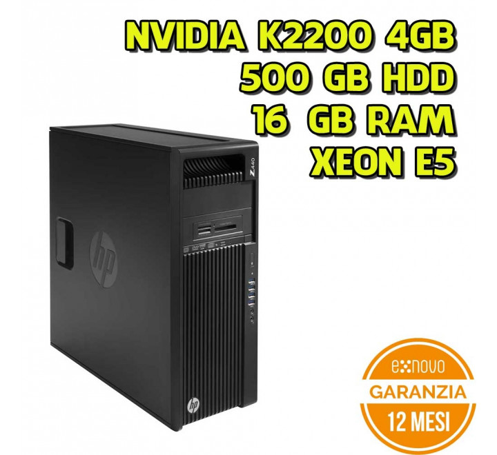 Workstation HP Z440 Tower Intel Xeon E5-1620v3 3,60GHz 16GB Ram 500GB HDD Nvidia K2200 DVDRW Win 10 Pro