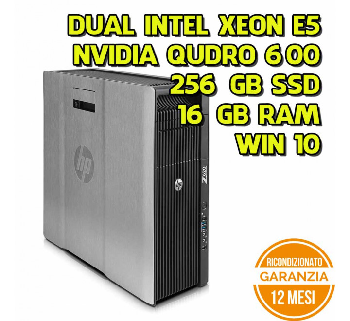Workstation HP Z620 Dual Intel Xeon E5-2620 2.00GHz 16GB Ram 256GB SSD Nvidia Quadro 600 DVD Win 10 Pro - Grado B