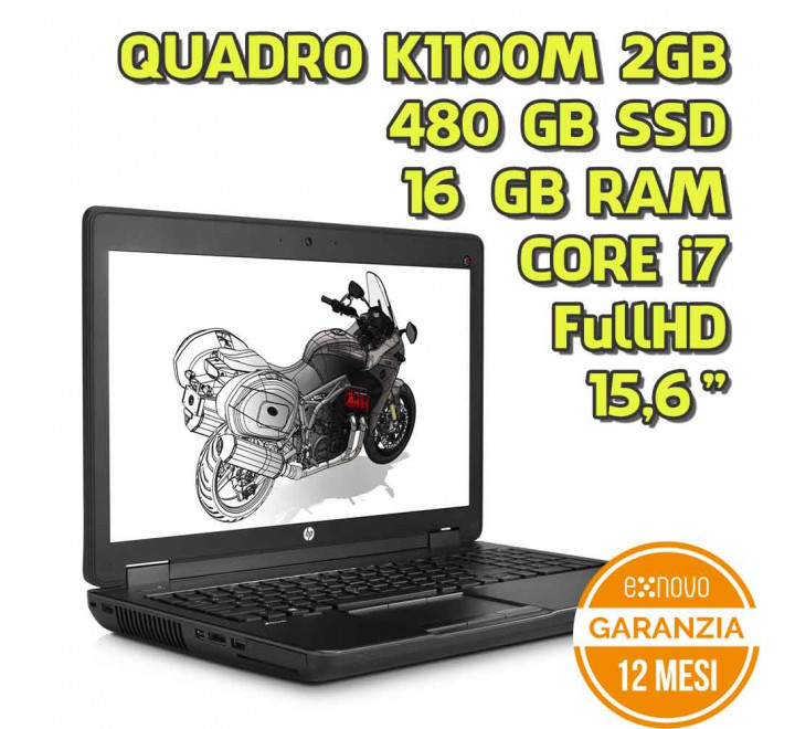 "Notebook HP Zbook G2 15,6"" Intel Core i7-4800MQ 2,70GHz 16GB Ram 480GB SSD Quadro K1100M DVDRW Win 10 Pro - Grado A"