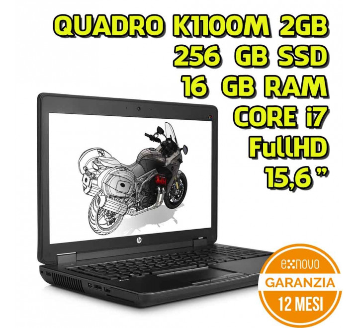 "Notebook HP zBook 15,6"" Intel Core i7-4800MQ 2,70GHz 16GB Ram 256GB SSD Nvidia Quadro K1100M 2GB Win 10 Pro"